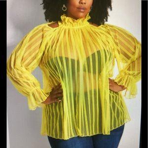 Ashley Stewart TWO Sheer Striped Blouses 1…
